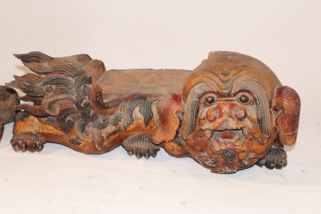Pair Antique Oriental Temple Food Dog Capitals - 2