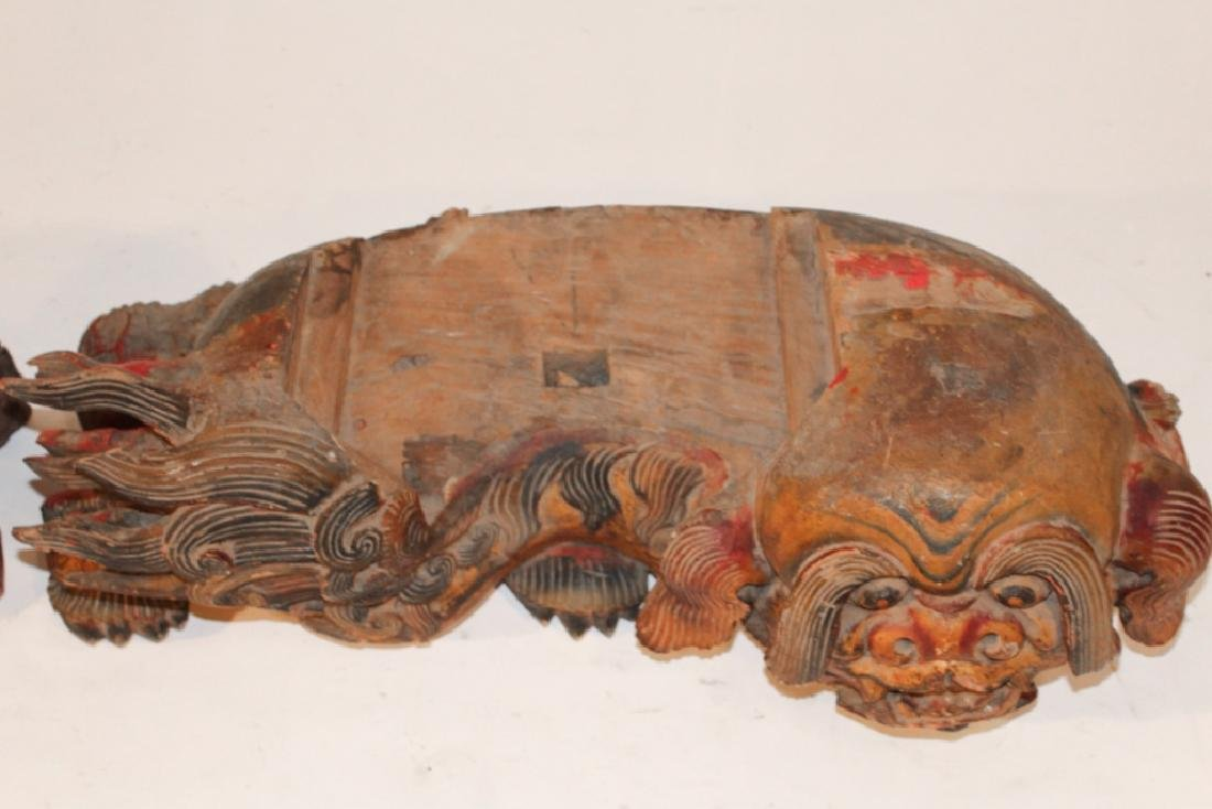 Pair Antique Oriental Temple Food Dog Capitals - 3