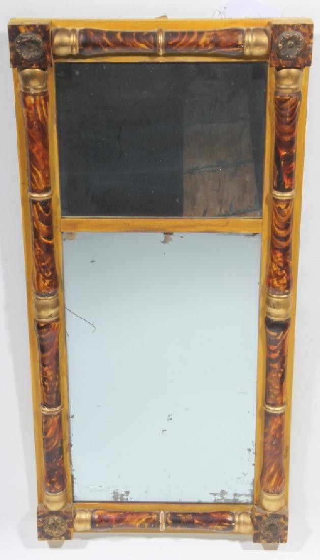 American Classical Grain Painted Giltwood Mirror