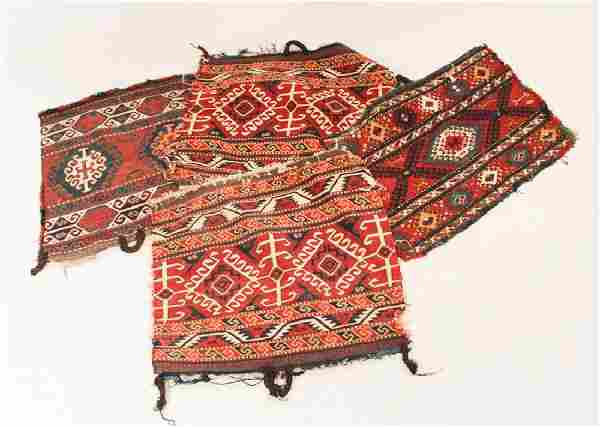 Collection Four Vintage Persian Tribal Bag Faces