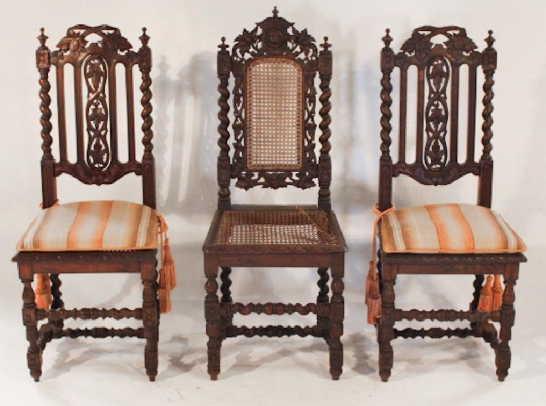 Three Renaissance Revival English Oak Side Chairs
