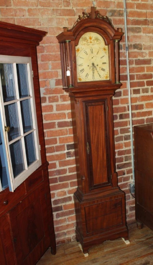 American Chippendale Mahogany Tall Case Clock