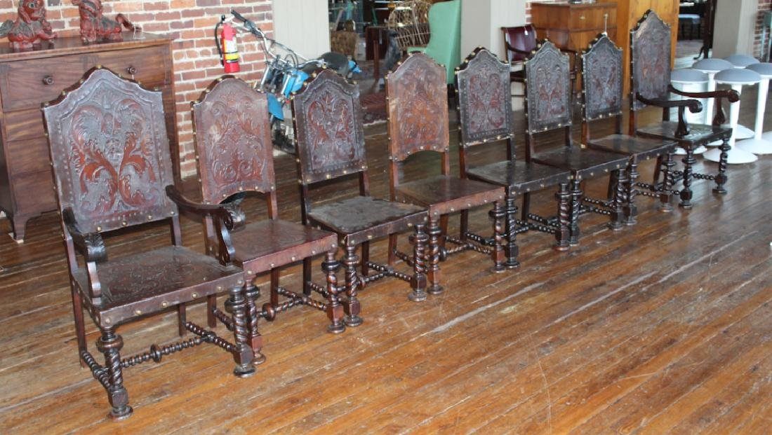 Set Eight Brazilian Colonial Style Dining Chairs