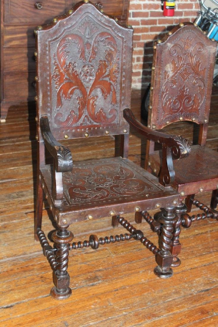 Set Eight Brazilian Colonial Style Dining Chairs - 3