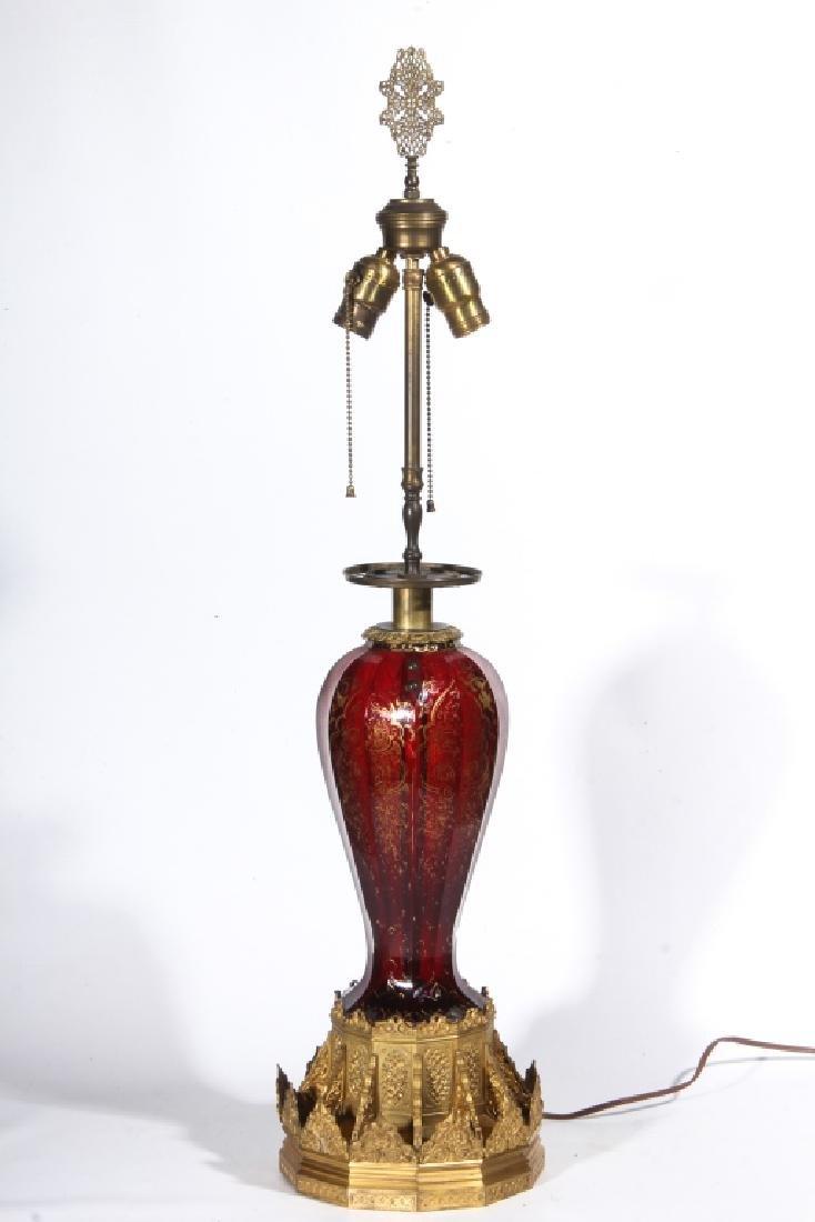 Antique Bohemian Glass & Gilt Bronze Table Lamp