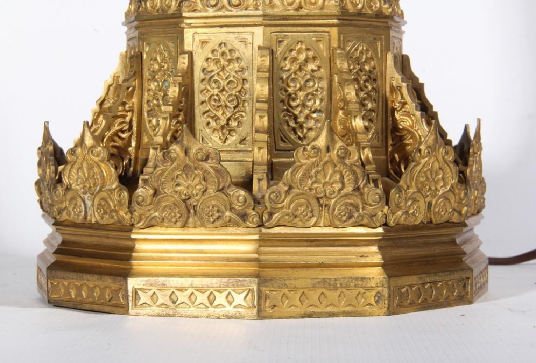 Antique Bohemian Glass & Gilt Bronze Table Lamp - 2
