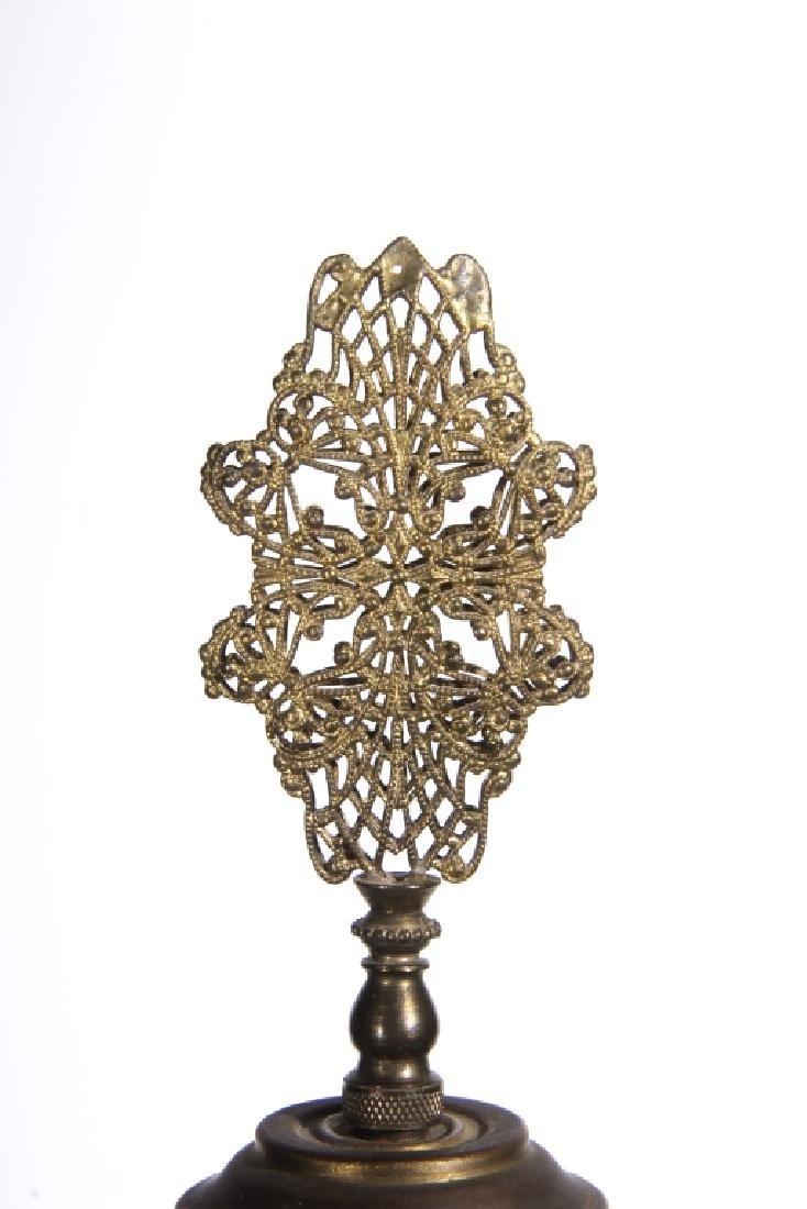 Antique Bohemian Glass & Gilt Bronze Table Lamp - 4
