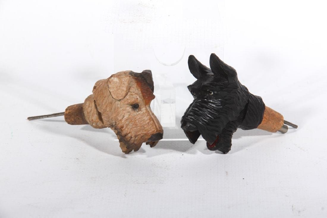 Two Derose Wood Dog Bottle Stoppers / Pourers