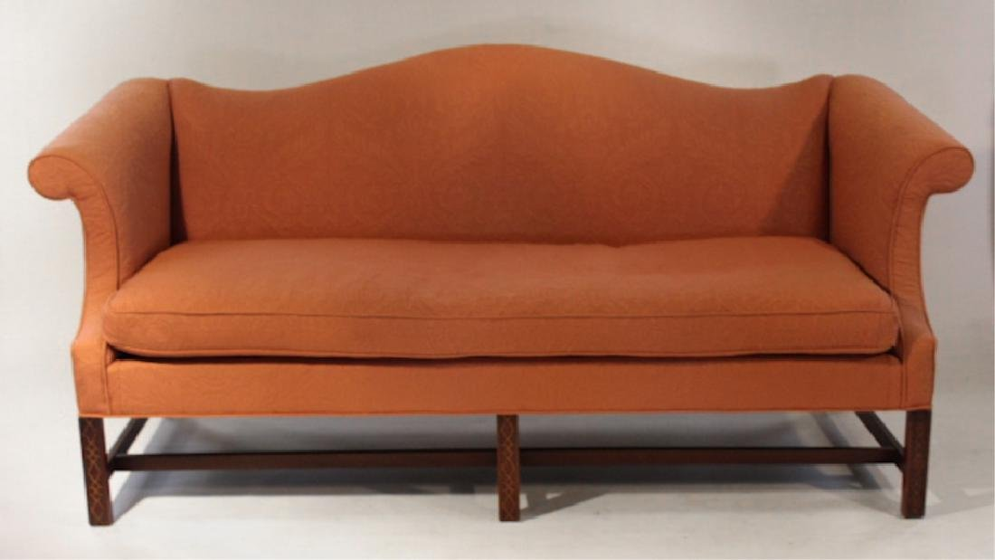 Bench Made Chippendale Style Camelback Sofa