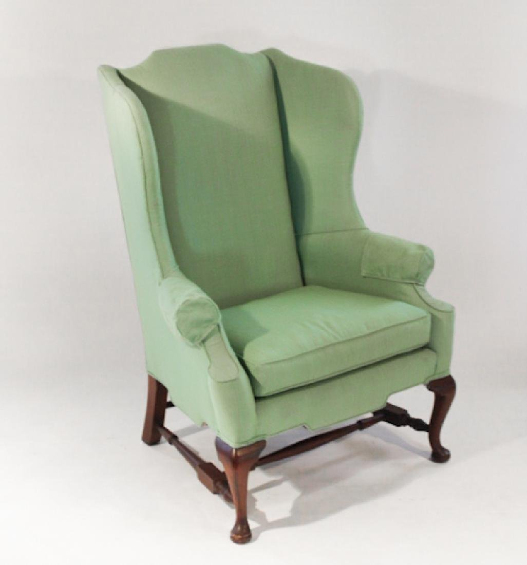 Queen Anne Style Mahogany Upholstered Wing Chair