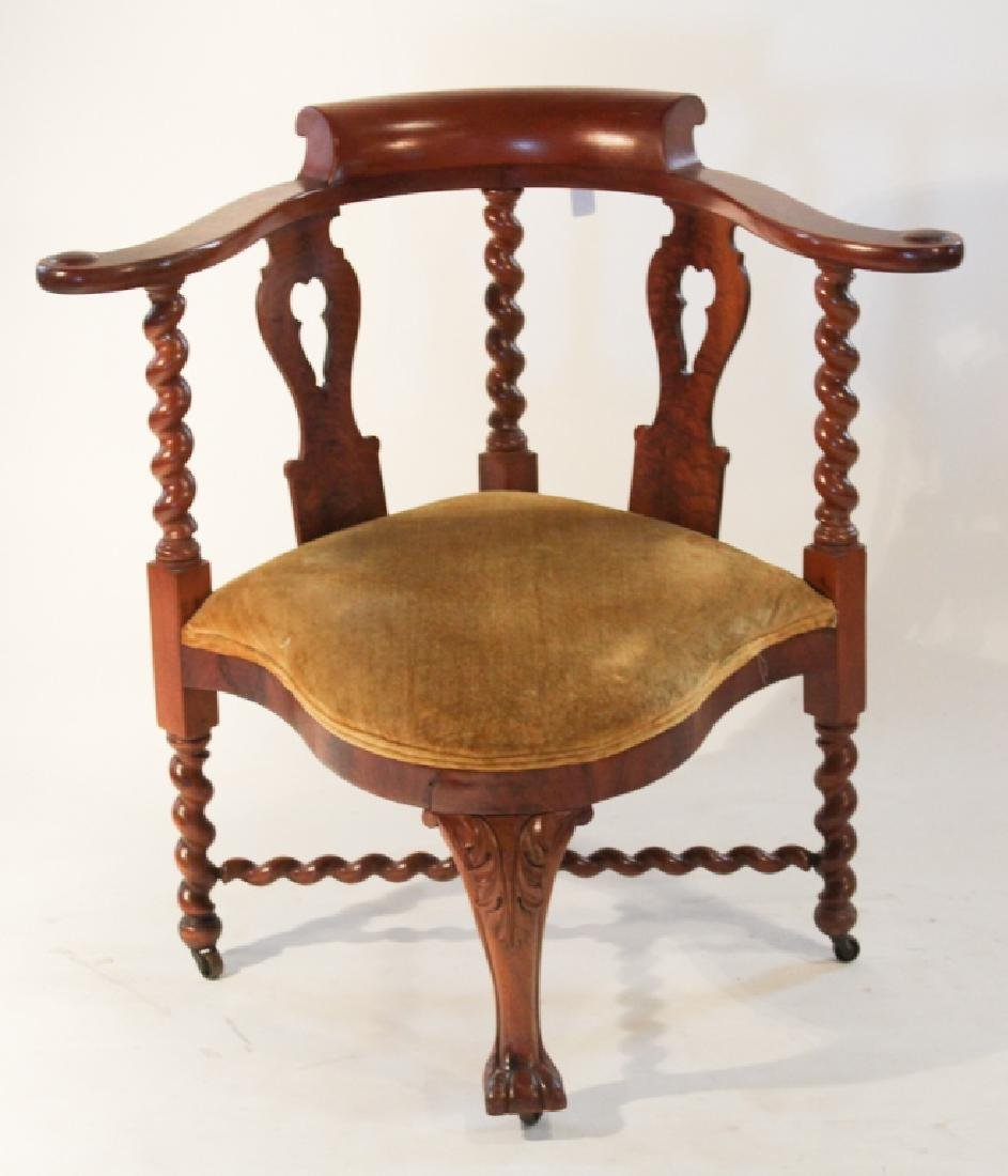 Carved Bench Made Mahogany Corner Chair