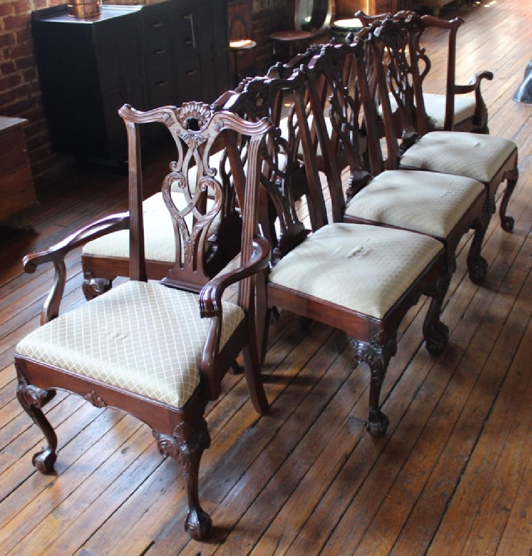 Set Chippendale Style Mahogany Dining Chairs
