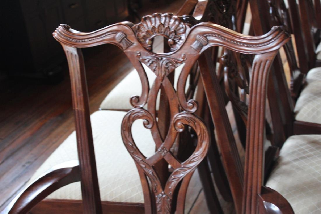 Set Chippendale Style Mahogany Dining Chairs - 3