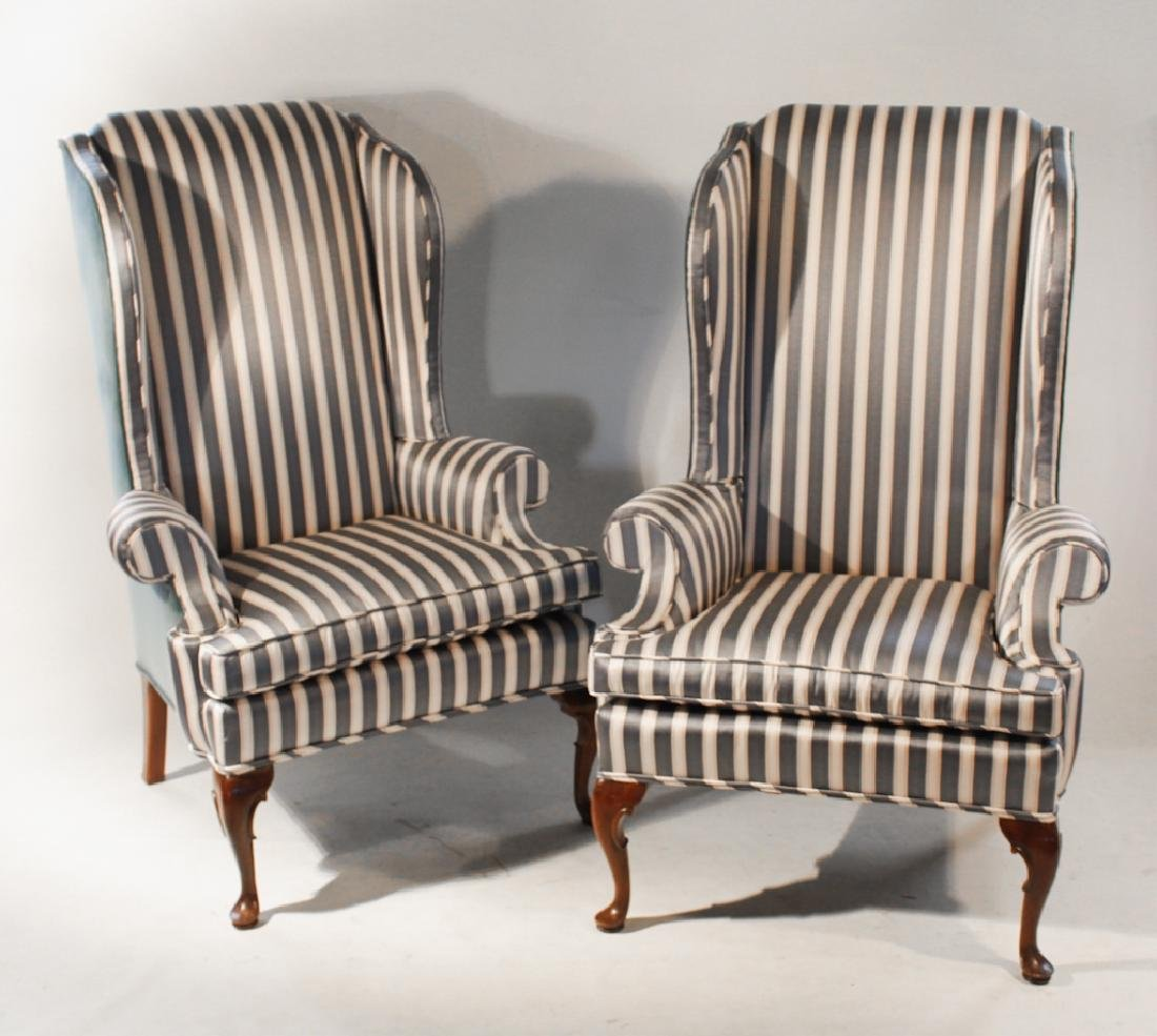 Pair Queen Anne Style Upholstered Wing Chairs