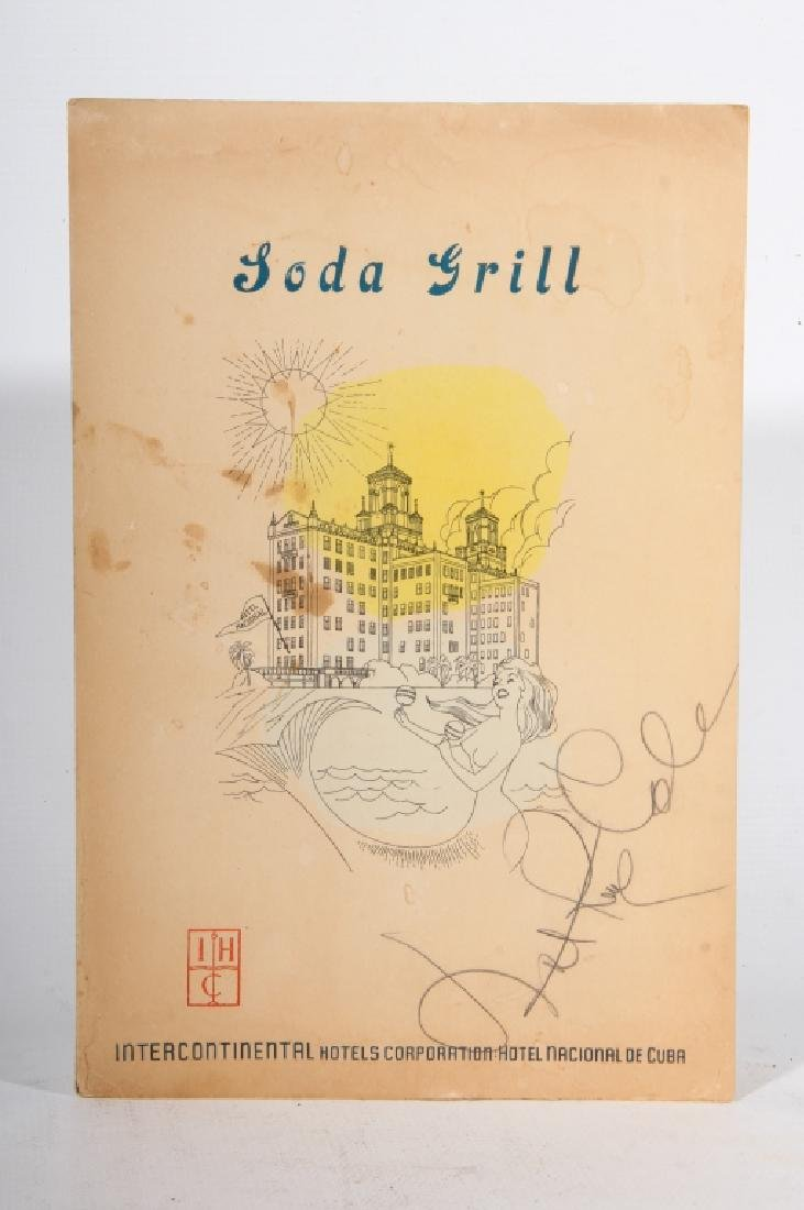 Cuban Restaurant Menu Signed by Nat King Cole
