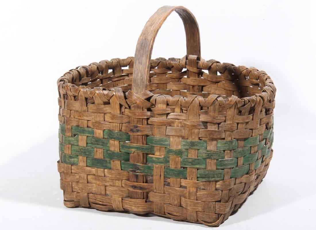 Fine Antique Paint Decorated Split Wood Basket
