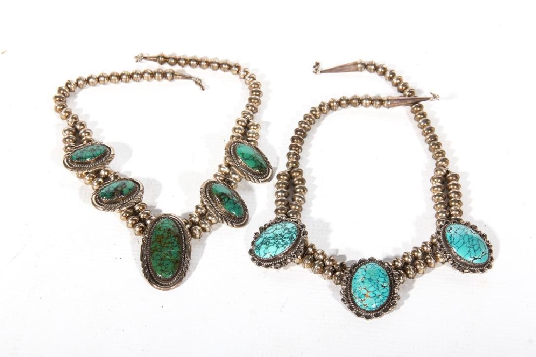 Two Native American Sterling & Turquoise Necklaces