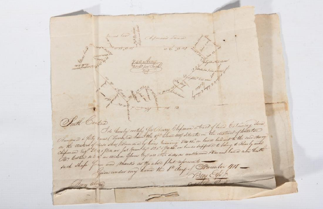 SC 1843 Andrew Pickens Signed Land Deed & Survey