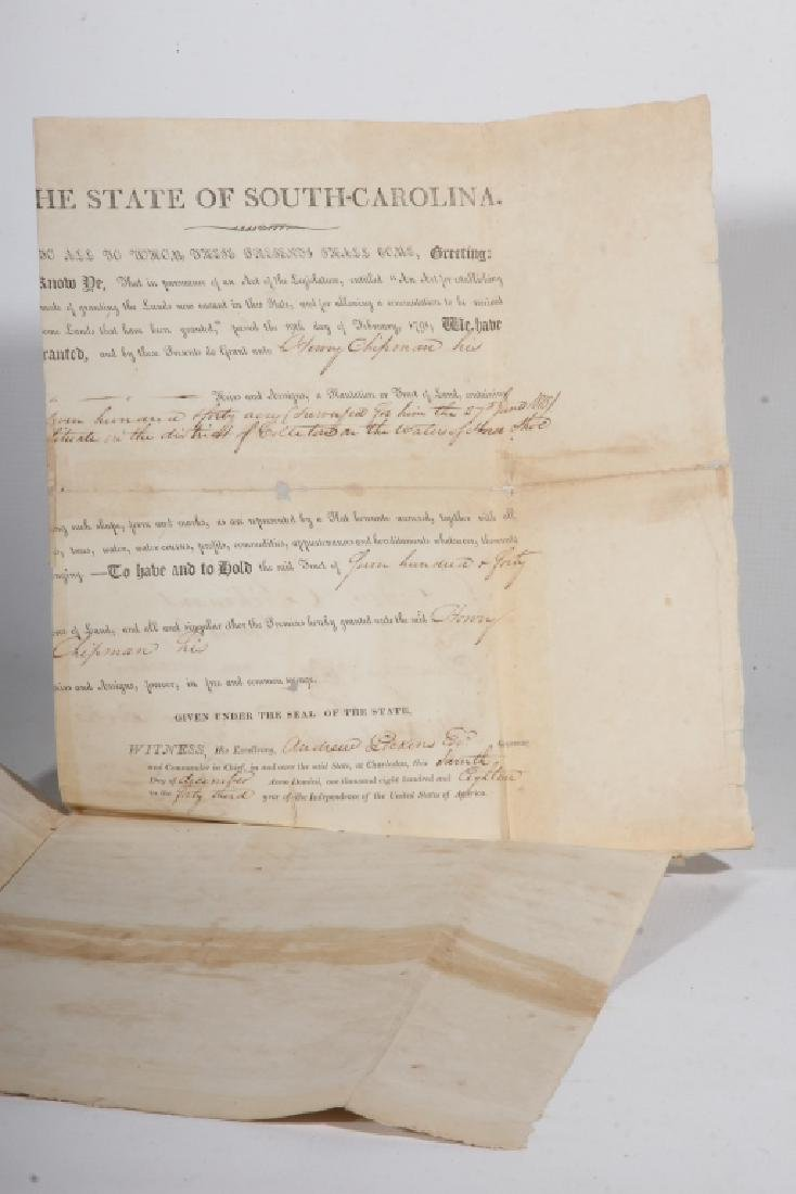 SC 1843 Andrew Pickens Signed Land Deed & Survey - 2