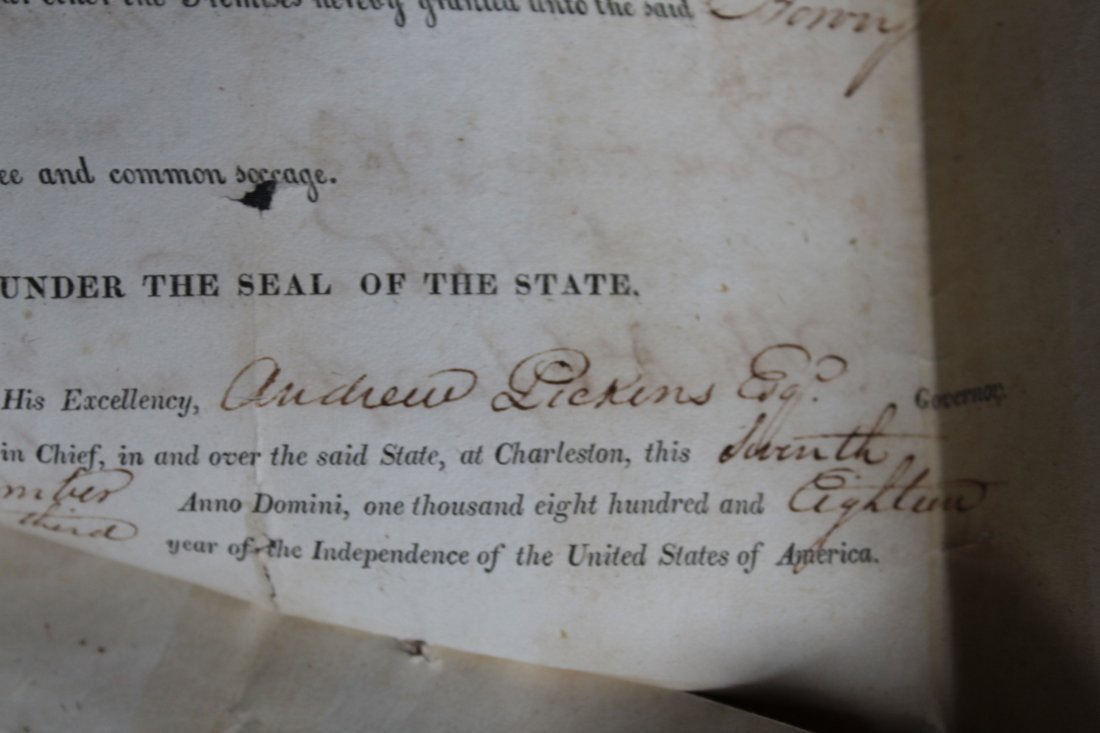 SC 1843 Andrew Pickens Signed Land Deed & Survey - 4