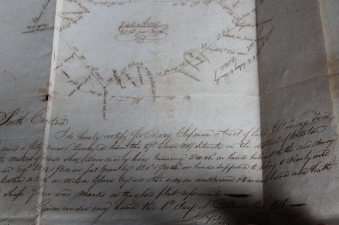 SC 1843 Andrew Pickens Signed Land Deed & Survey - 6