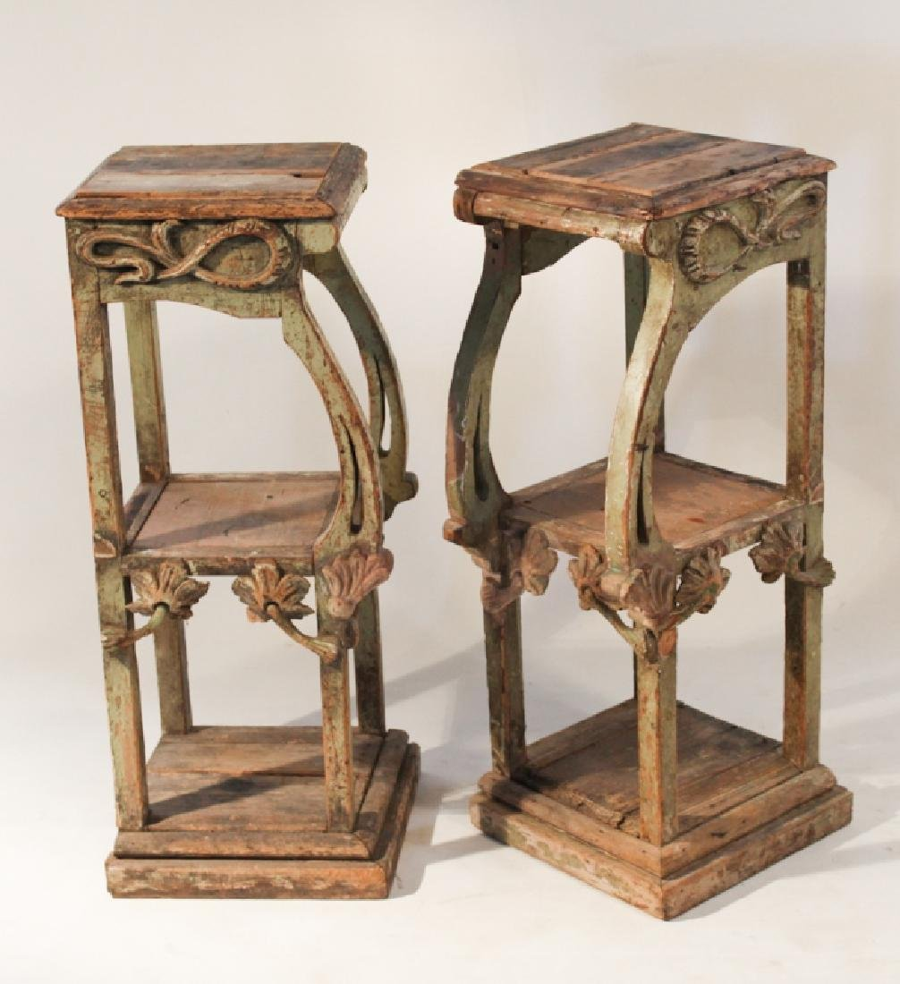 Pair French Carved Art Nouveau Side Tables