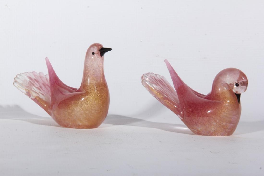 Pair Vintage Bohemian Blown Art Glass Dove Figures