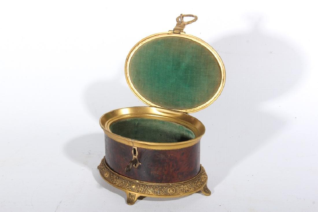 Regency Style Gilt Metal & Burl Wood Trinket Box - 2