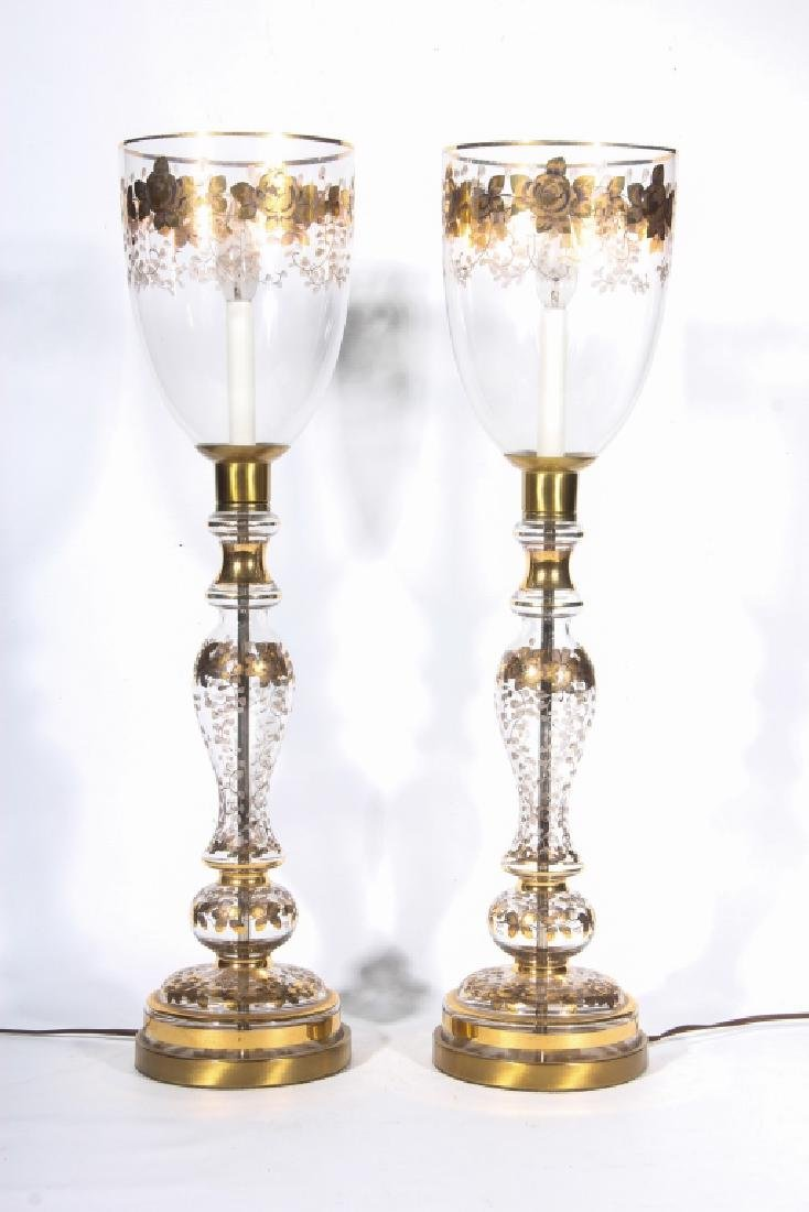 Pair Classical Style Gilded Hurricane Lamps