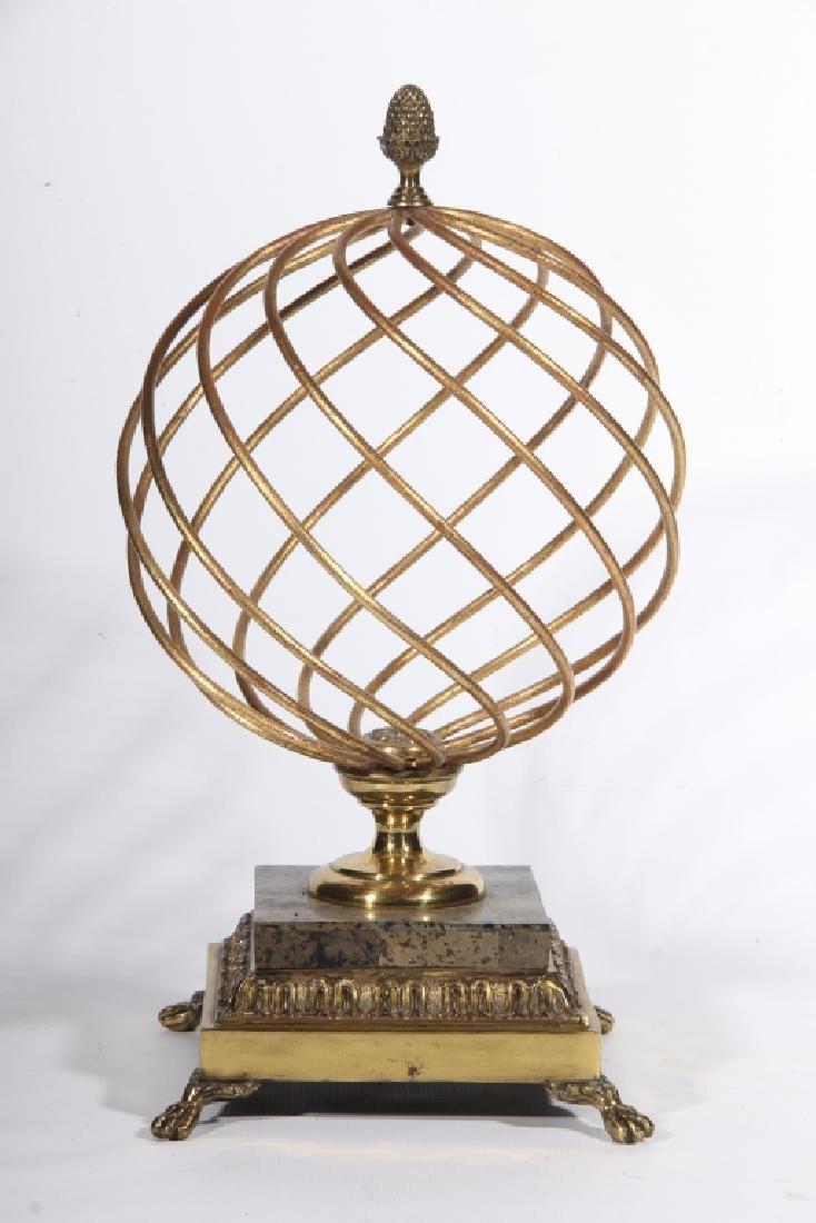 Vintage Brass Hollywood Regency Orb on Stand