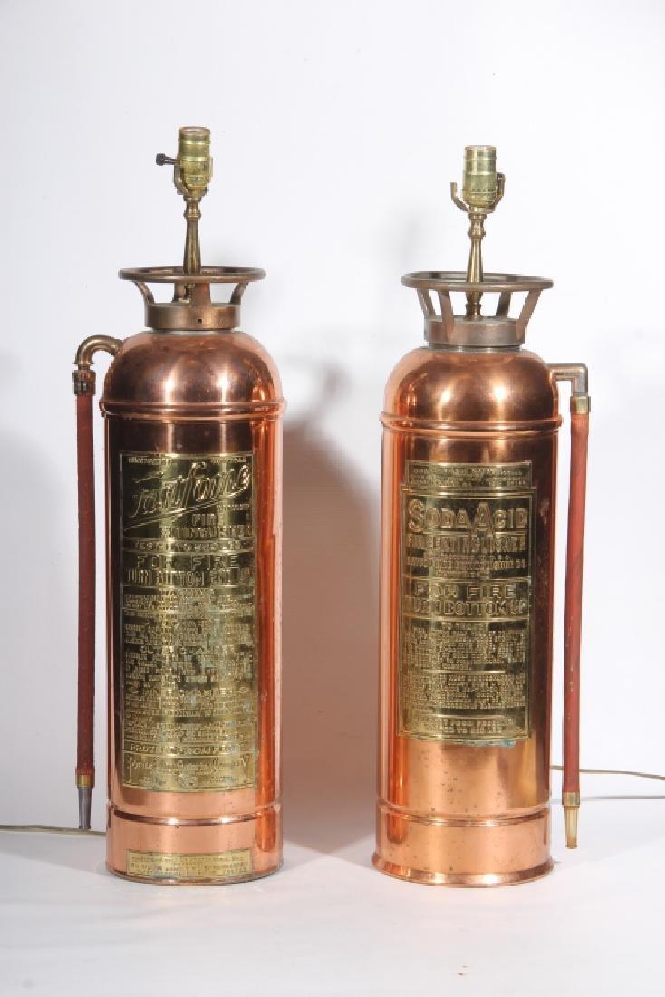 Pair Vintage Copper Fire Extinguisher Lamps