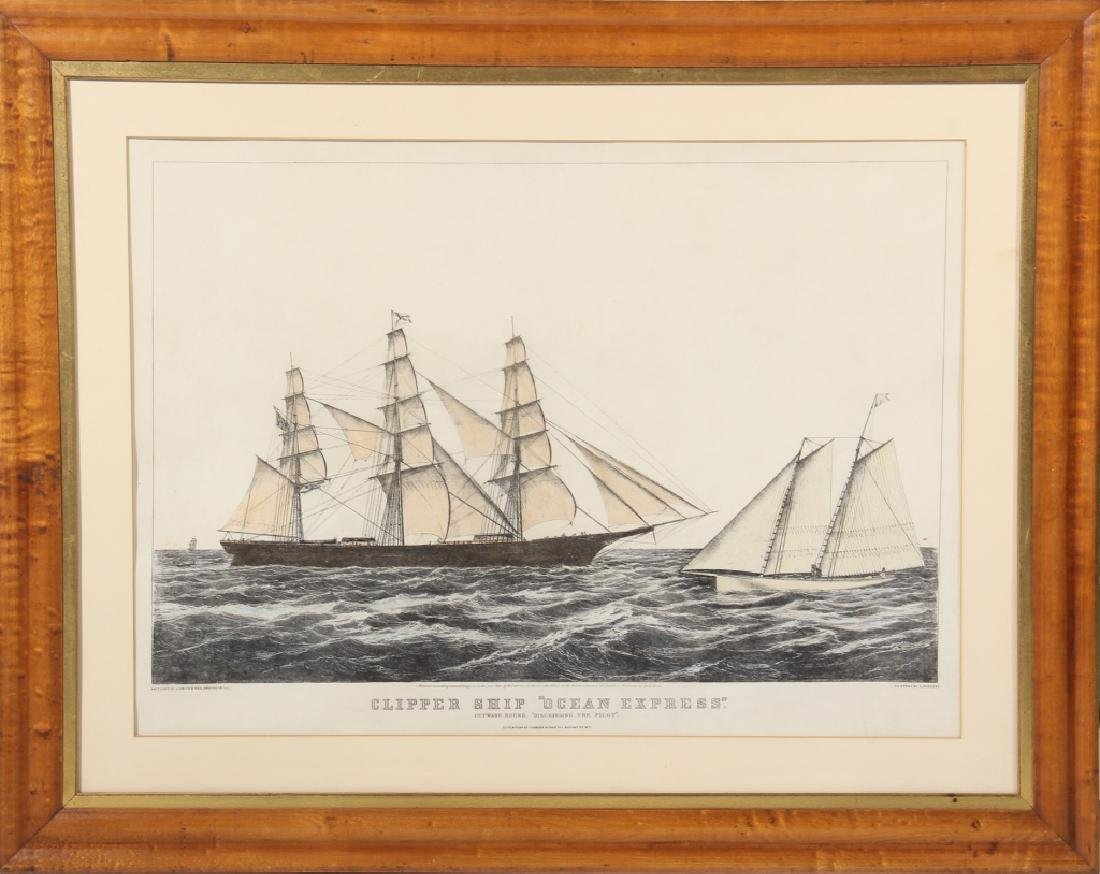 Currier & Ives Hand Colored Print of Ocean Express