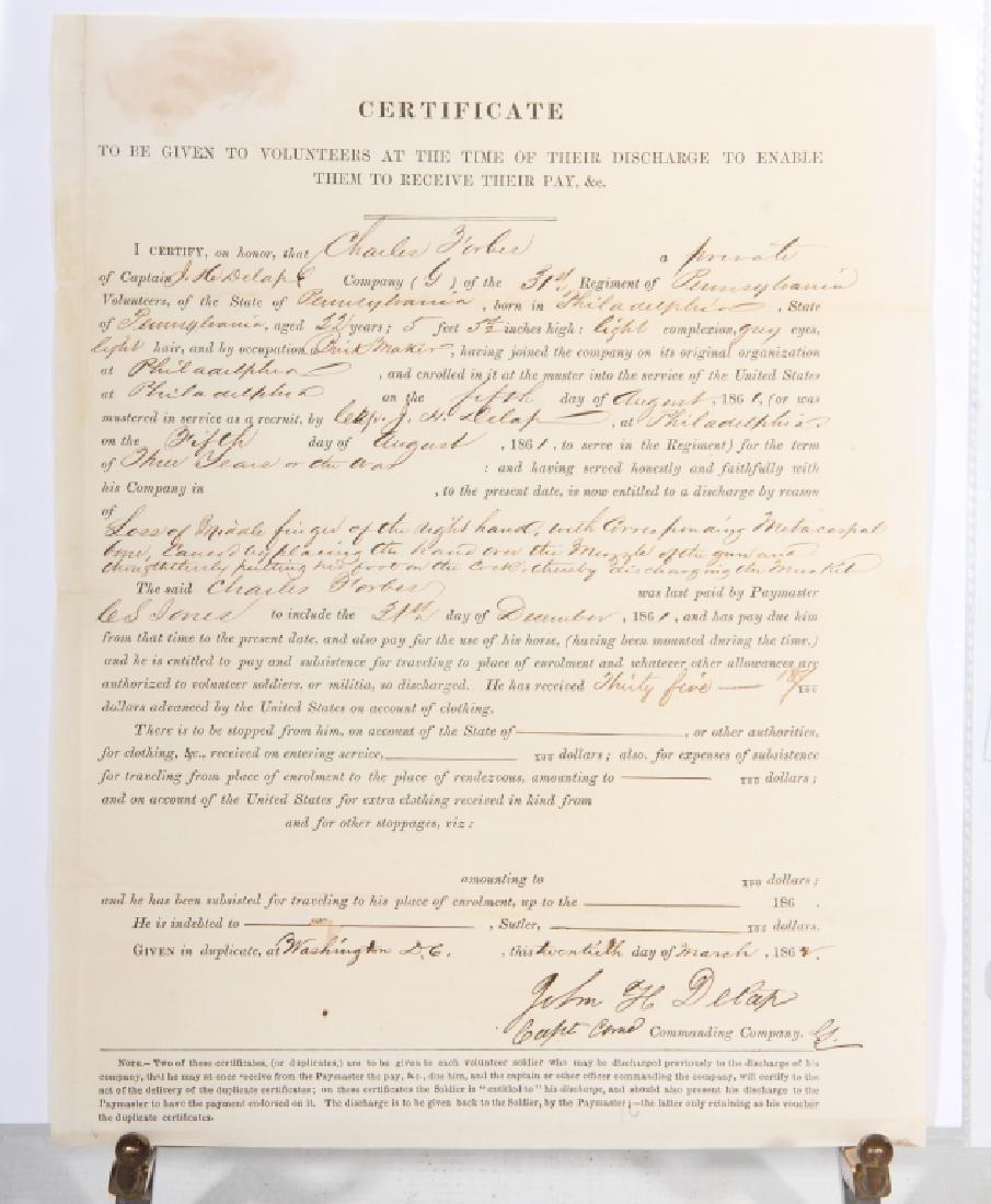 Civil War Era Military Discharge - 2