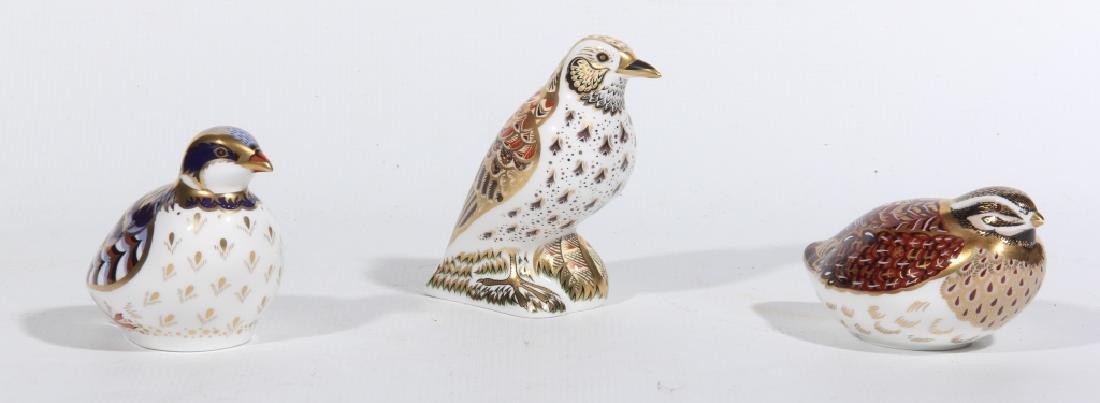 Three Royal Crown Derby Old Imari Porcelain Birds