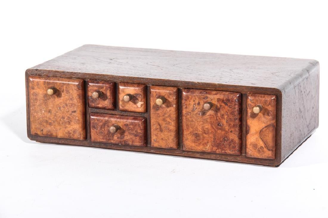 Handsome Art Deco Mahogany & Burl Walnut Cabinet