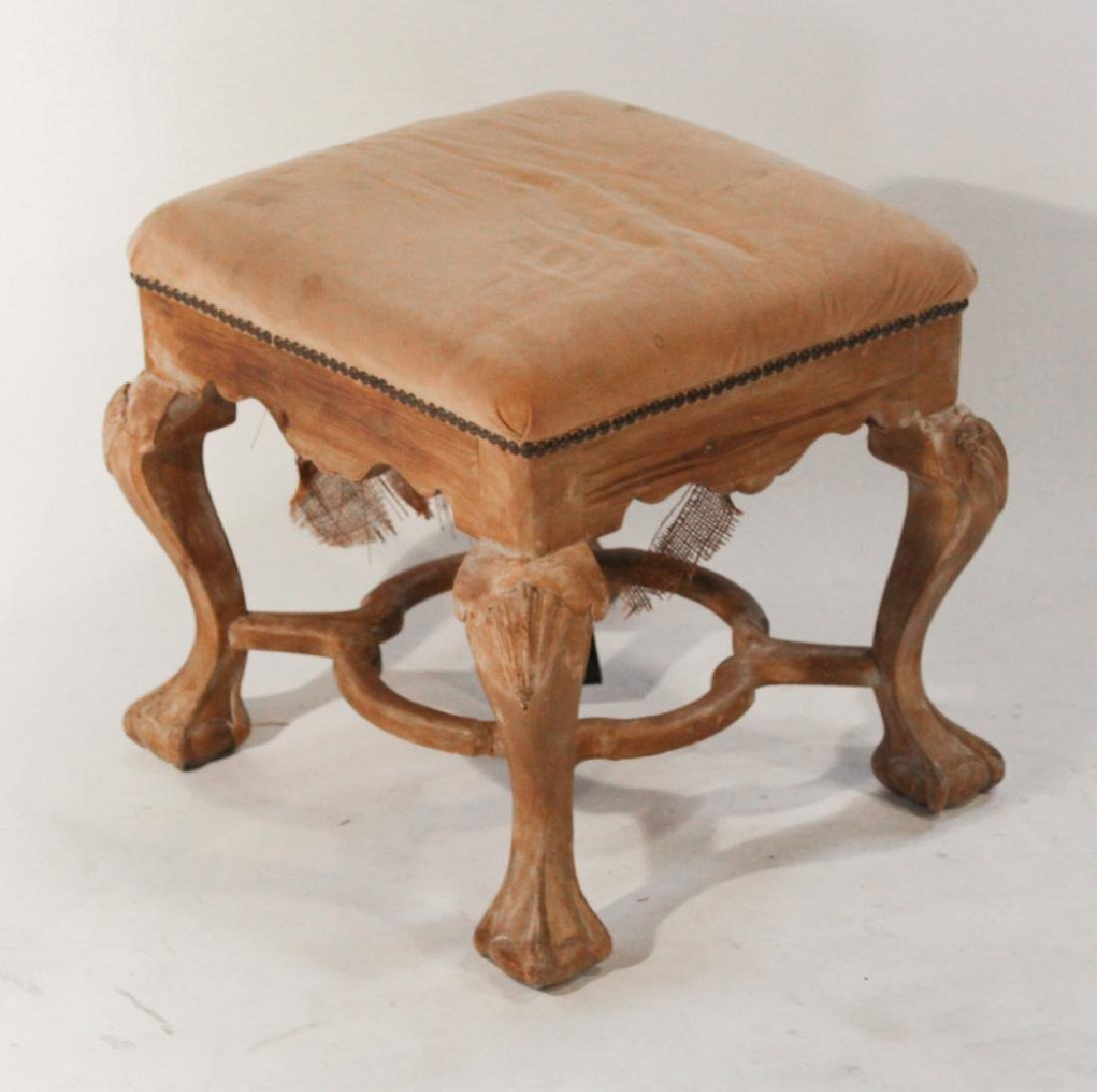 Chippendale Style Carved Bleached Wood Footstool