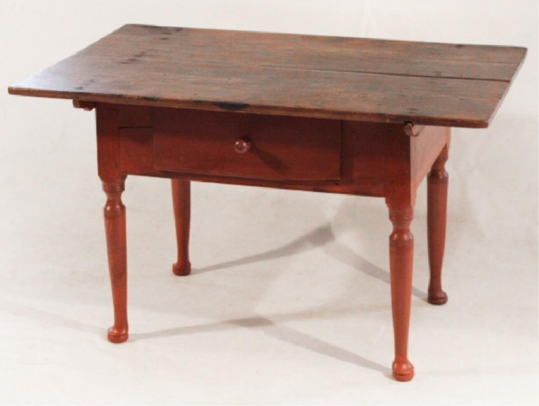 Queen Anne Style Pine & Ash Tilt Top Tavern Table - 2