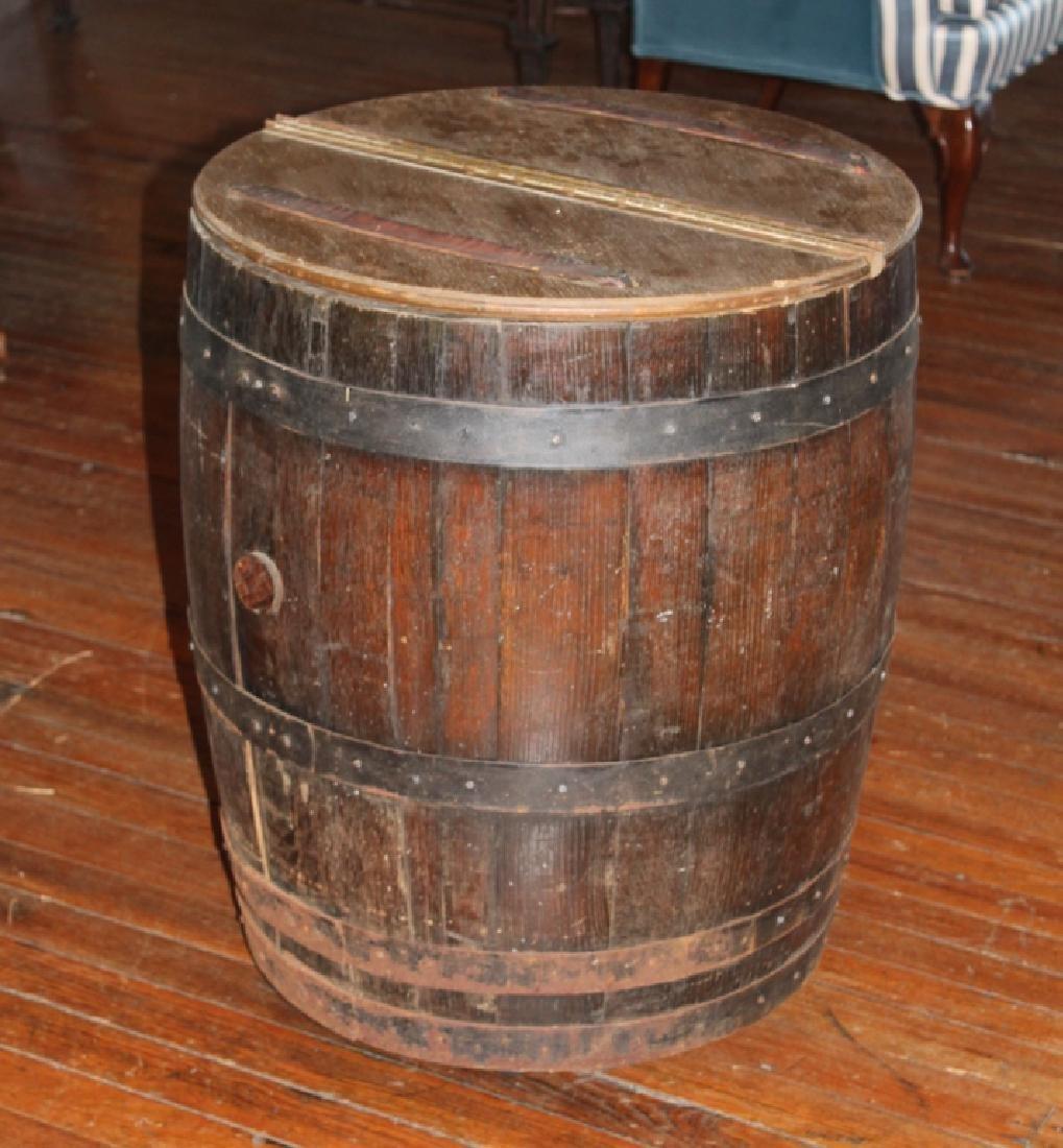 Antique Oak Whiskey Barrel Converted into Cooler