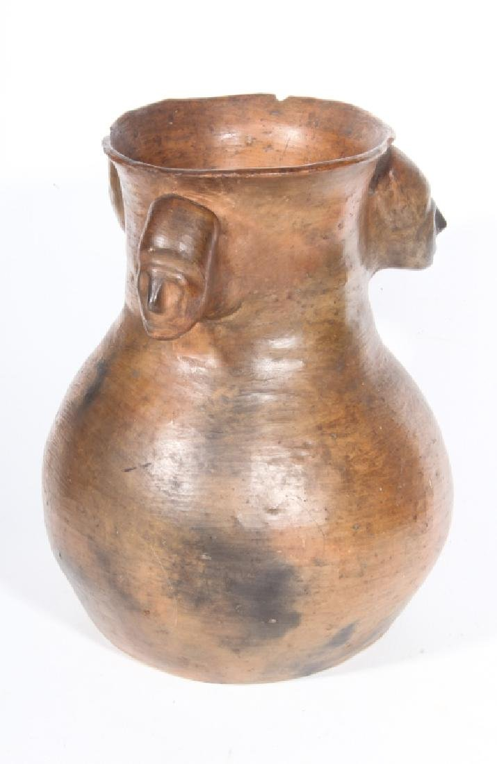 Fine & Early Catawba Indian Pottery Chief Head Jar - 4