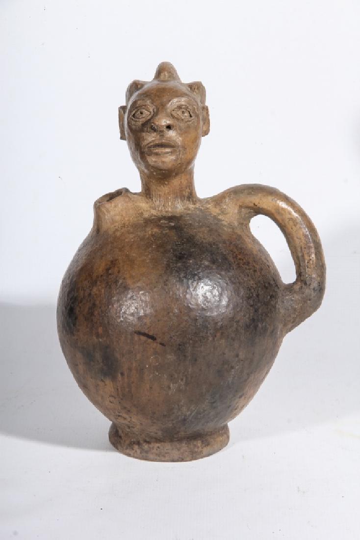 Vintage African Pottery Figural Head Jug