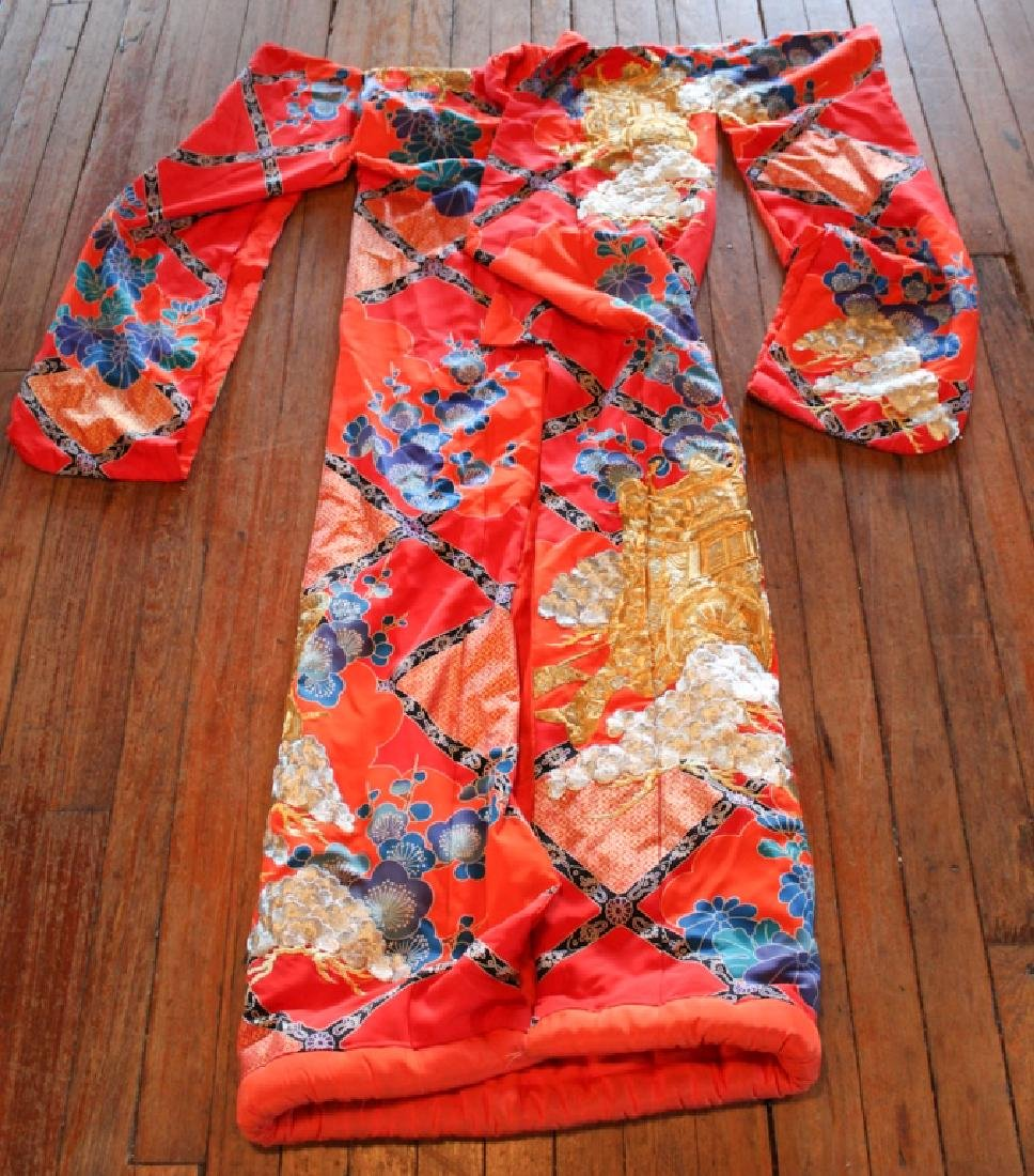 Vintage Chinese Silk & Embroidered Wedding Kimono