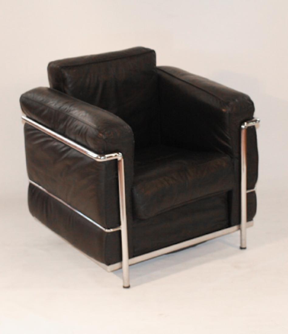 Mid Century Italian Leather & Chrome Easy Chair