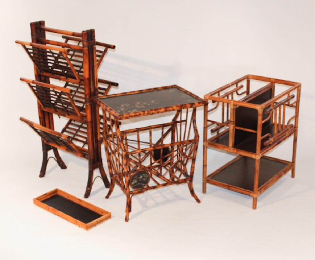 Three Aesthetic Style Bamboo Tables & Racks