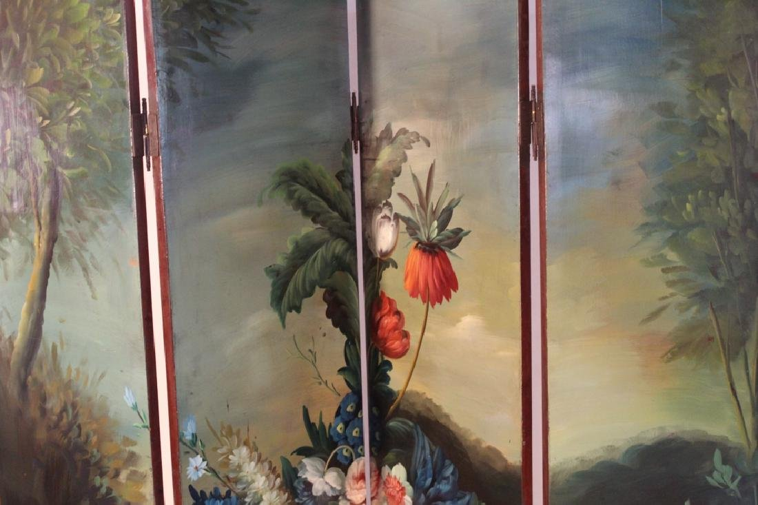 Art Deco Painted French Style Floral Floor Screen - 2