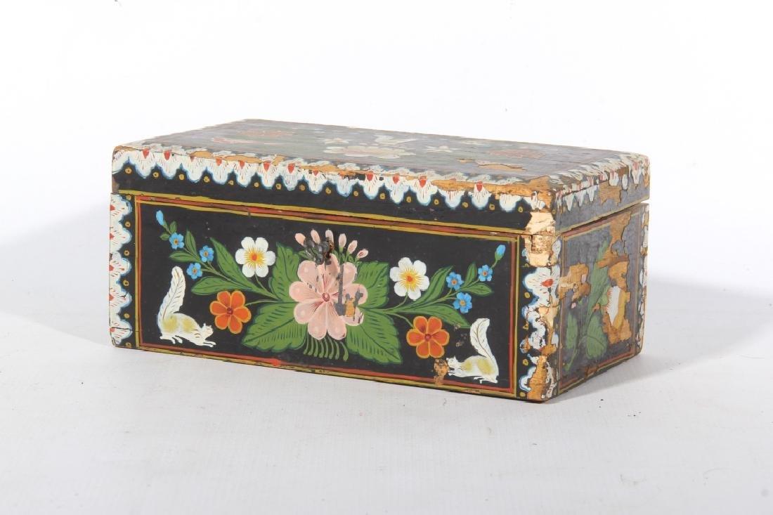 Antique Folk Art Paint Decorated Box