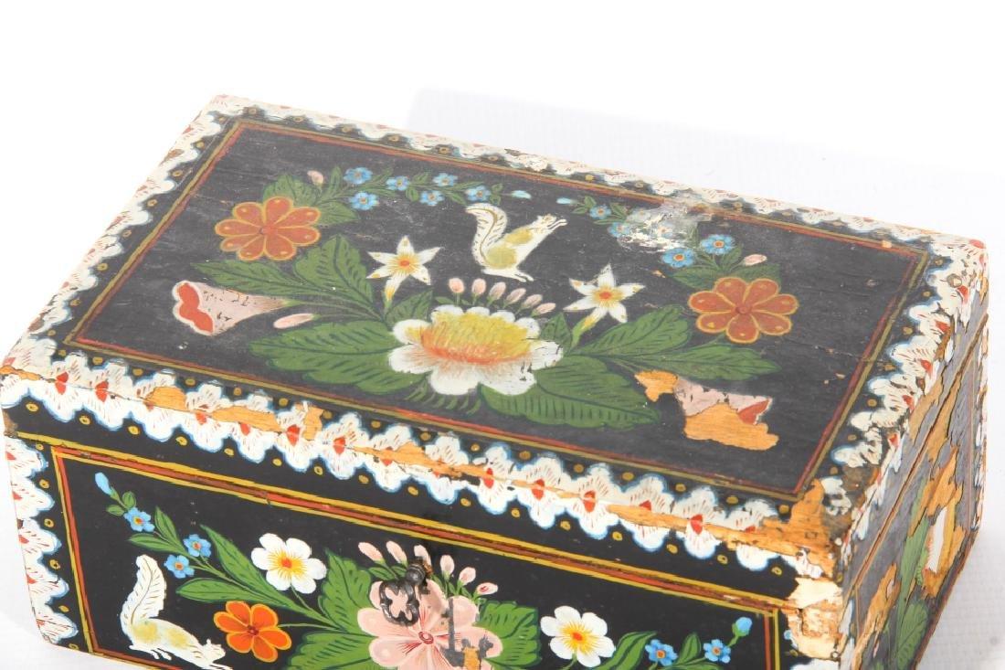 Antique Folk Art Paint Decorated Box - 2