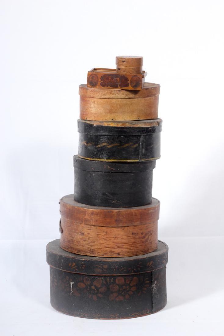 Collection Seven Antique Wood Boxes