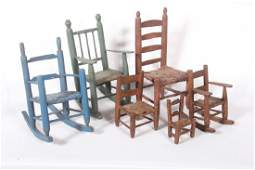 Antique  Vintage Handmade Miniature Chairs