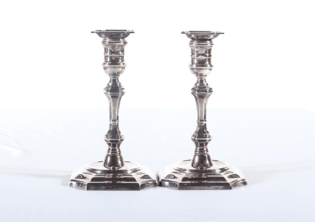 Fine Pair Cartier Sterling Silver Candlesticks