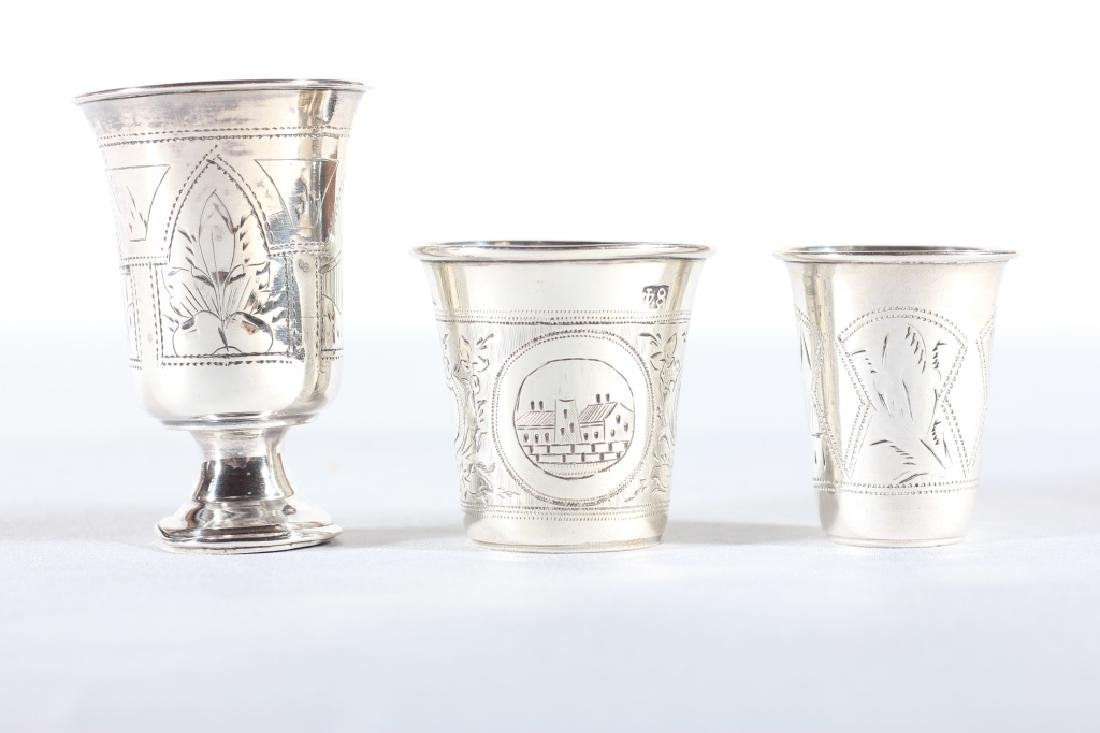 Three Antique Russian Silver Chased Cups